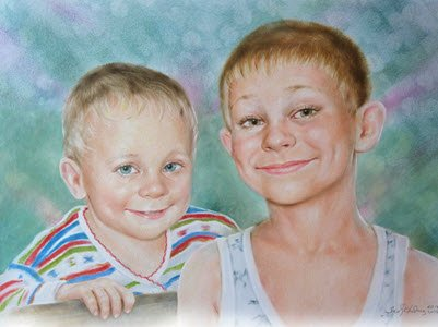 Brothers - a children's portrait in the mixed technology