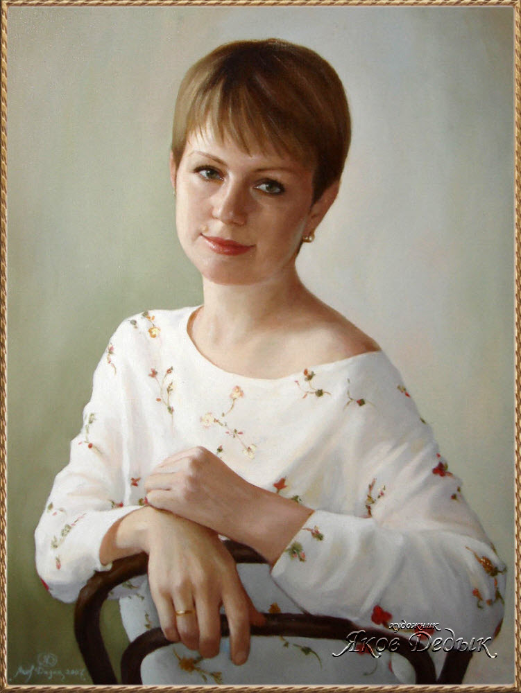 Portrait oil painting on canvas. Yakov Deduk, painting from nature and photos
