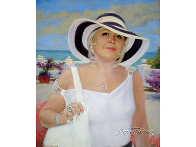 * On the seafront * Portrait of a Woman oil