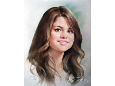 Selena - portrait in dry brush technique. Artist Yakov Dedyk