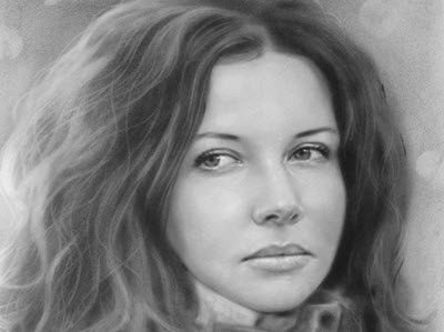 portrait in pencil, dry brush with photos