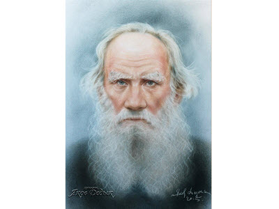 Lev Tolstoy. Portrait - dry brush on paper