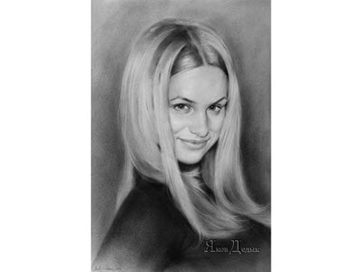 Portrait of a beautiful blonde - dry brush on paper