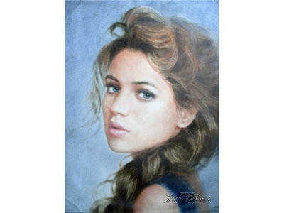 color portrait in dry brush technique. Painter Yakov Dedyk