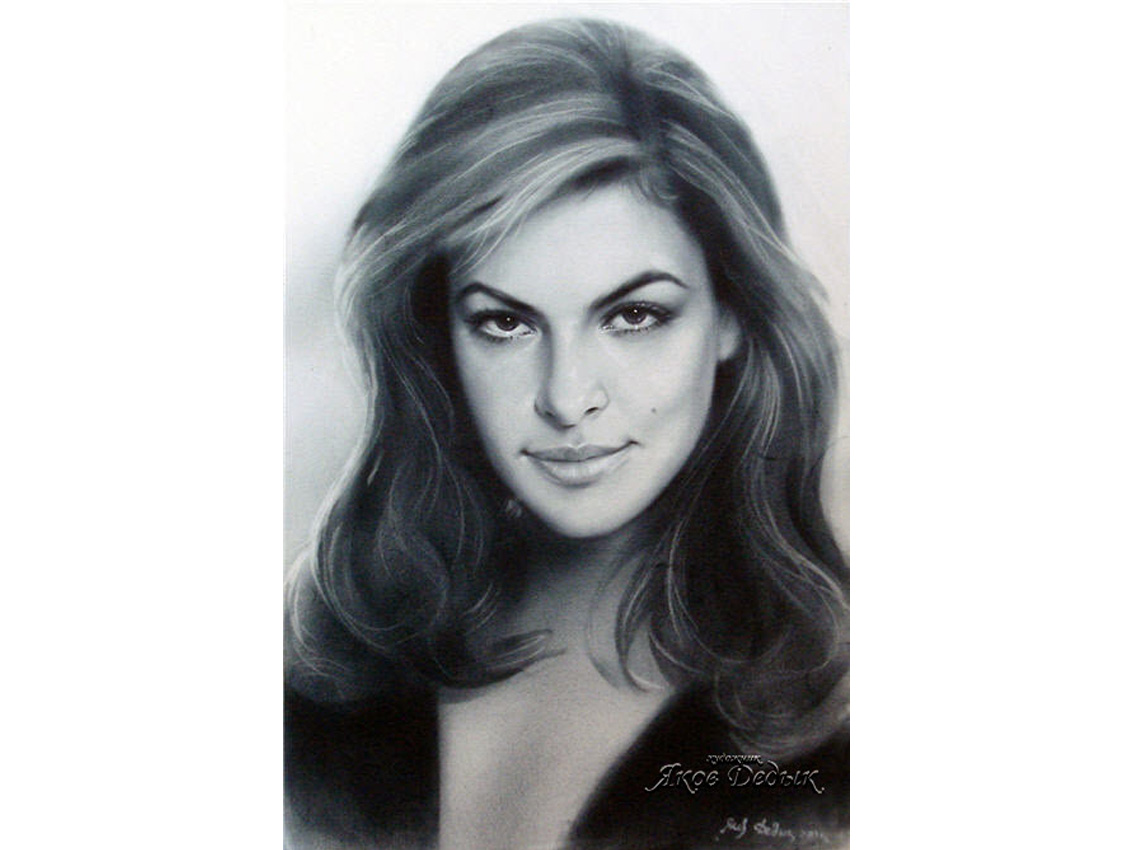Eva Mendes. Portrait in dry brush technique. Painter Yakov Dedyk