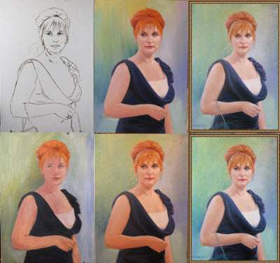 The sequence of a phased work on a portrait photograph of the item